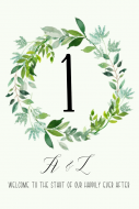 Wedding Table Number Label - Spring Green