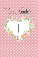 Table Number Label - Rose Heart Frame