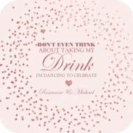 Anniversary Drink Coaster - Rose Gold Sparkle
