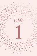 Anniversary Table Number Label - Rose Gold Sparkle