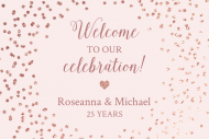 Anniversary Mini Wine Label - Rose Gold Sparkle