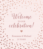 Anniversary Champagne Label - Rose Gold Sparkle