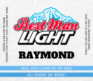 Wedding Beer Can Label - Best Man Light Beer