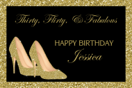 Birthday Mini Wine Label - Gold High Heels