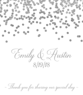 Wedding Wine Label - Silver Confetti
