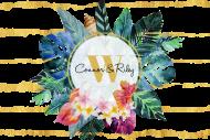 Wedding Mini Wine Label - Tropical Flowers