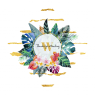 Wedding Wine Hang Tag - Tropical Flowers