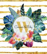 Wedding Wine Label - Tropical Flowers