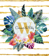 Wedding Champagne Label - Tropical Flowers