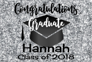 Graduations Mini Wine Label - Graduation Silver Glitter