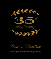 Anniversary Wine Label - Gold Laurel