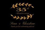 Anniversary Mini Wine Label - Gold Laurel