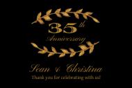 Anniversary Mini Wine Label - Gold Laurel
