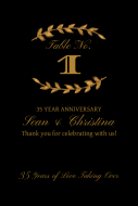Anniversary Table Number Label - Gold Laurel