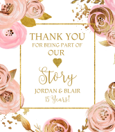 Anniversary Champagne Label - Lovely Flowers