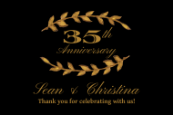 Anniversary Mini Champagne Label - Gold Laurel