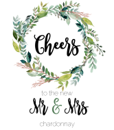 Wedding Wine Label - Mr & Mrs Wedding Wreath