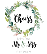 Wedding Champagne Label - Mr & Mrs Wedding Wreath