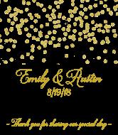 Wedding Champagne Label - Gold Confetti