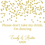Wedding Drink Coaster - Gold Confetti