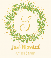 Wedding Wine Label - Gilded Wreath