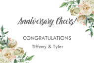 Anniversary Mini Wine Label - Ivory Roses
