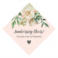 Anniversary Wine Hang Tag - Ivory Roses