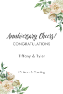 Anniversary Large Wine Label - Ivory Roses