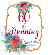 Birthday Wine Label - Floral Copper Frame