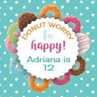 Birthday Food Label - Donut Worry