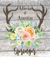 Wedding Wine Label - Rustic Antlers Spring Floral