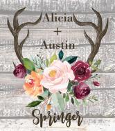Wedding Wine Label - Rustic Antlers Autumn Floral