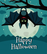 Holiday Wine Label - Halloween Bat