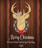 Holiday Wine Label - Gold Glitter Deer