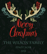 Holiday Wine Label - Christmas Antlers