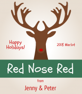 Holiday Wine Label - Red Nose