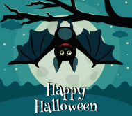 Holiday Beer Can Label - Halloween Bat