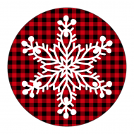 Holiday Label - Snowflake Plaid