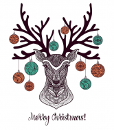 Holiday Wine Label - Christmas Deer