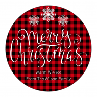 Holiday Label - Christmas Red Check
