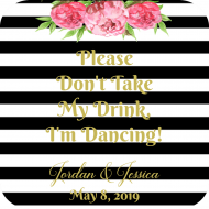 Wedding Drink Coaster - Wedding Stripes