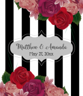 Wedding Champagne Label - Realistic Roses & Stripes
