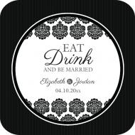 Wedding Drink Coaster - Black & White