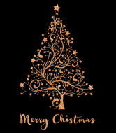 Holiday Champagne Label - Copper Christmas Tree