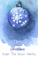 Holiday Large Wine Label - Watercolor Snowflake Ornament