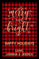 Holiday Large Wine Label - Merry and Bright Buffalo Plaid