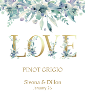 Wedding Champagne Label - Gold Love Letters