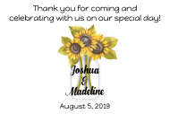 Wedding Mini Wine Label - Sunflower Mason Jar