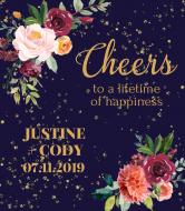 Wedding Wine Label - Autumn Floral
