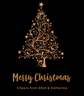 Holiday Wine Label - Copper Christmas Tree